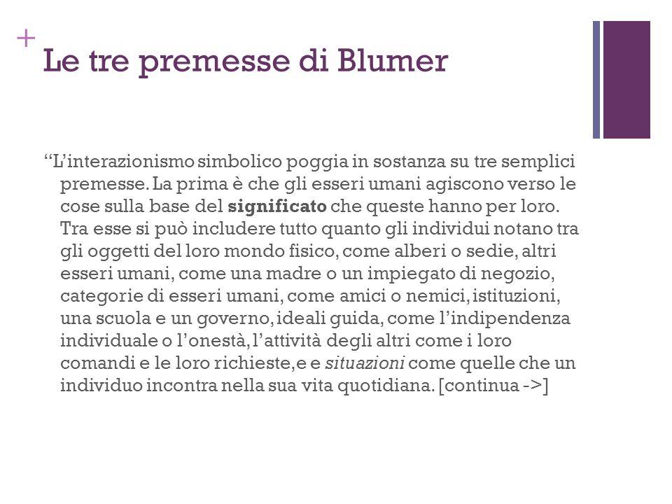 + Le tre premesse di Blumer Linterazionismo simbolico poggia in sostanza su tre semplici premesse. La prima è che gli esseri umani agiscono verso le c
