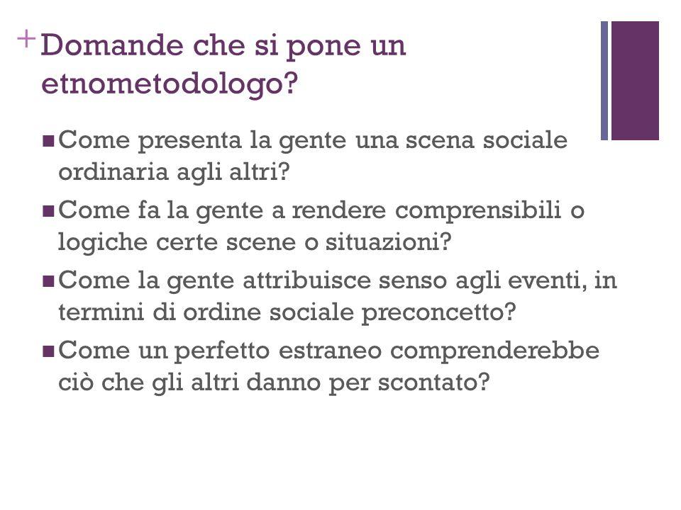 + Domande che si pone un etnometodologo? Come presenta la gente una scena sociale ordinaria agli altri? Come fa la gente a rendere comprensibili o log