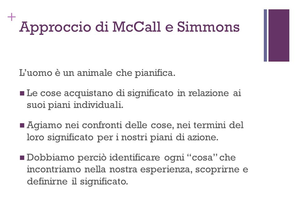 + Approccio di McCall e Simmons Luomo è un animale che pianifica. Le cose acquistano di significato in relazione ai suoi piani individuali. Agiamo nei