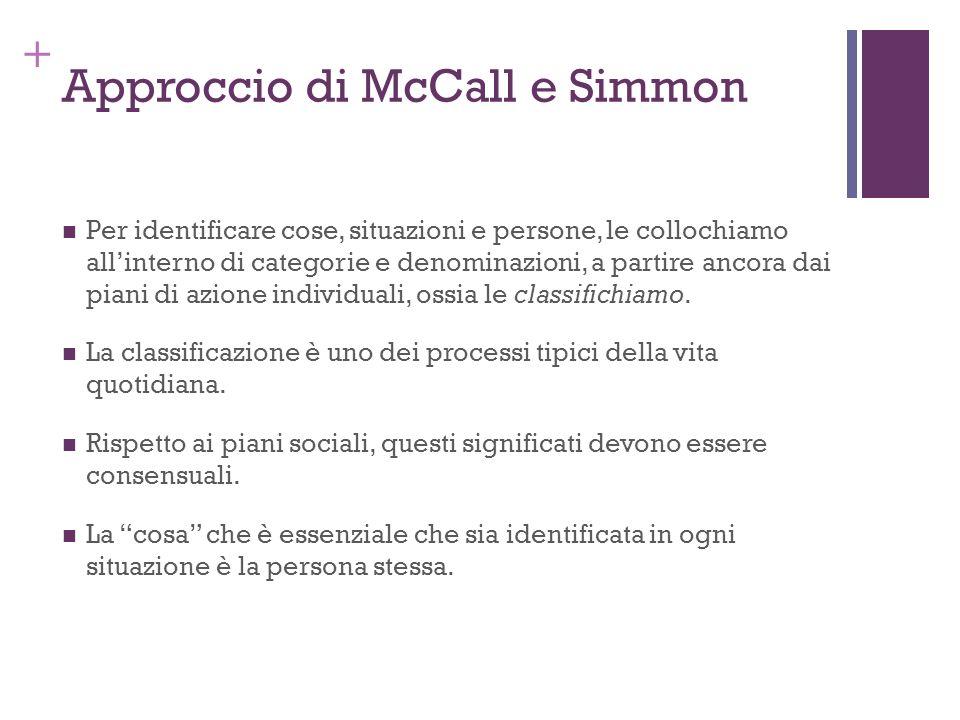 + Approccio di McCall e Simmon Per identificare cose, situazioni e persone, le collochiamo allinterno di categorie e denominazioni, a partire ancora d