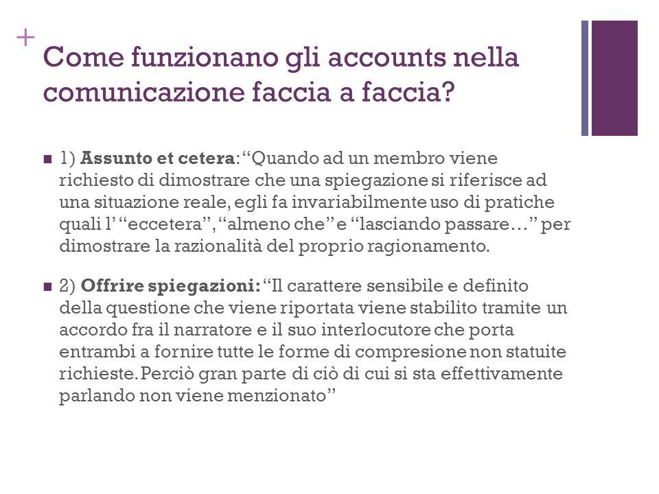 + Come funzionano gli accounts nella comunicazione faccia a faccia? 1) Assunto et cetera: Quando ad un membro viene richiesto di dimostrare che una sp