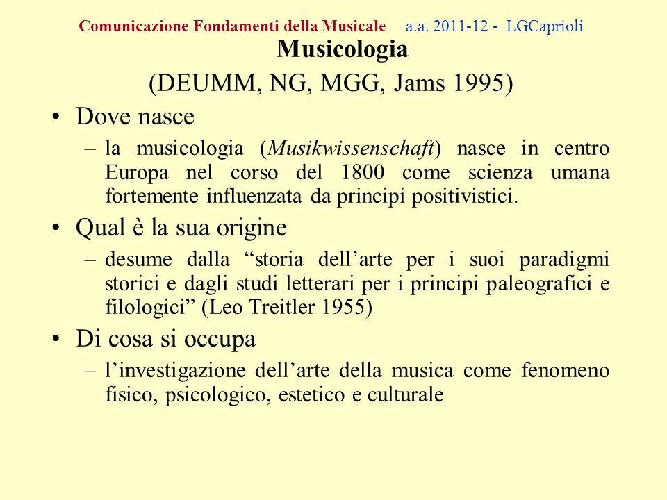 Comunicazione Fondamenti della Musicale a.a. 2011-12 - LGCaprioli Musicologia (DEUMM, NG, MGG, Jams 1995) Dove nasce –la musicologia (Musikwissenschaf