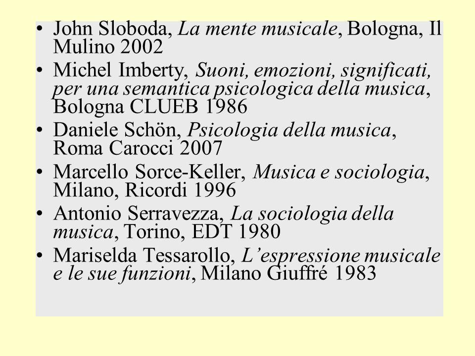John Sloboda, La mente musicale, Bologna, Il Mulino 2002 Michel Imberty, Suoni, emozioni, significati, per una semantica psicologica della musica, Bol