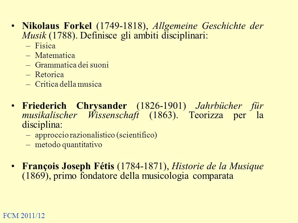 Nikolaus Forkel (1749-1818), Allgemeine Geschichte der Musik (1788). Definisce gli ambiti disciplinari: –Fisica –Matematica –Grammatica dei suoni –Ret