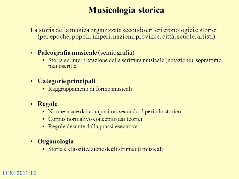 La sociologia della musica si interessa –di forme del comportamento musicale dipendentemente dalla loro rilevanza sociale –a differenza dell etnomusicologia, prevede o addiritura include analisi di tematiche politiche e culturali –i fattori estetici, in questo quadro, si legano fortemente a quelli etici e sono quindi oggetto d interesse dei sociologi FCM 2011/12