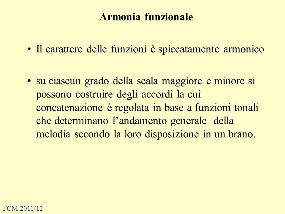 Armonia funzionale Il carattere delle funzioni è spiccatamente armonico su ciascun grado della scala maggiore e minore si possono costruire degli acco