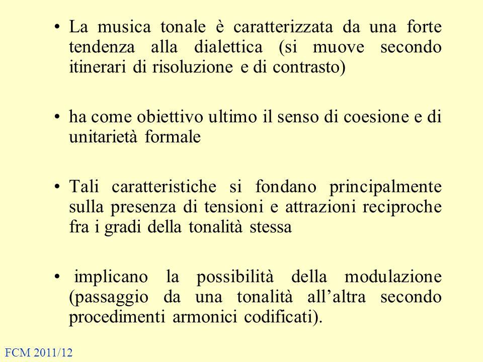 La musica tonale è caratterizzata da una forte tendenza alla dialettica (si muove secondo itinerari di risoluzione e di contrasto) ha come obiettivo u