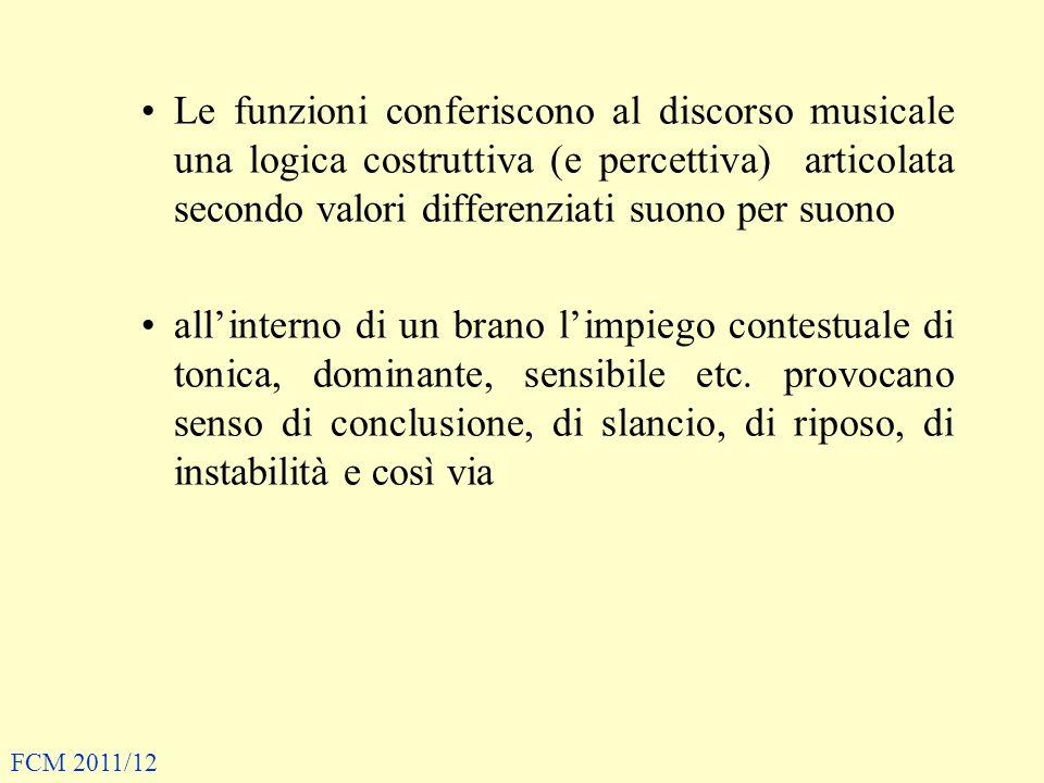 Le funzioni conferiscono al discorso musicale una logica costruttiva (e percettiva) articolata secondo valori differenziati suono per suono allinterno