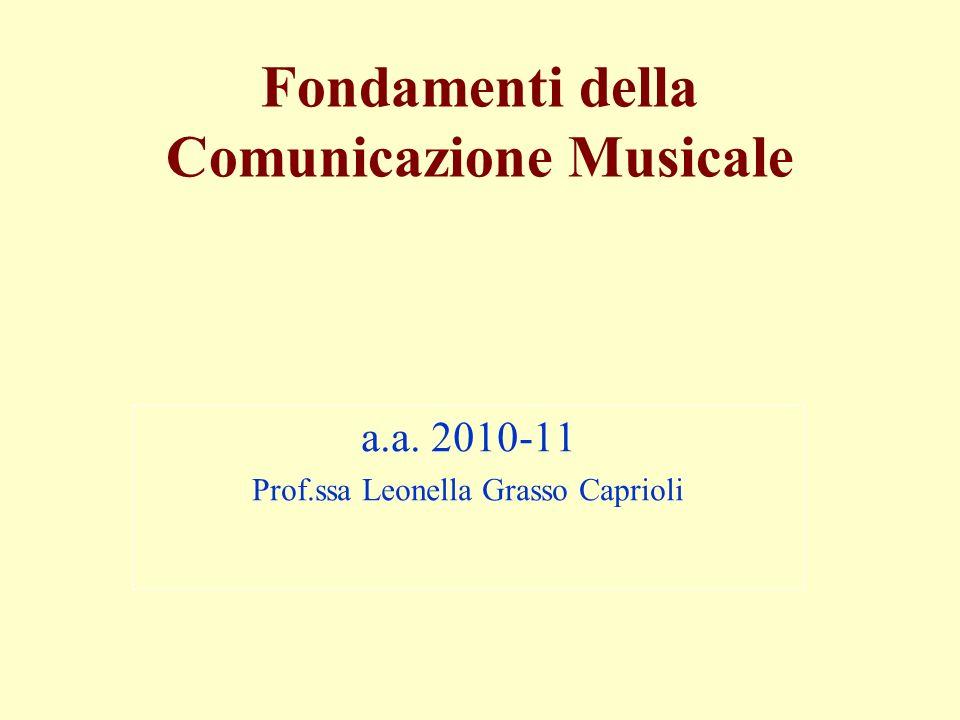 Fondamenti della Comunicazione Musicale a.a. 2010-11 Prof.ssa Leonella Grasso Caprioli