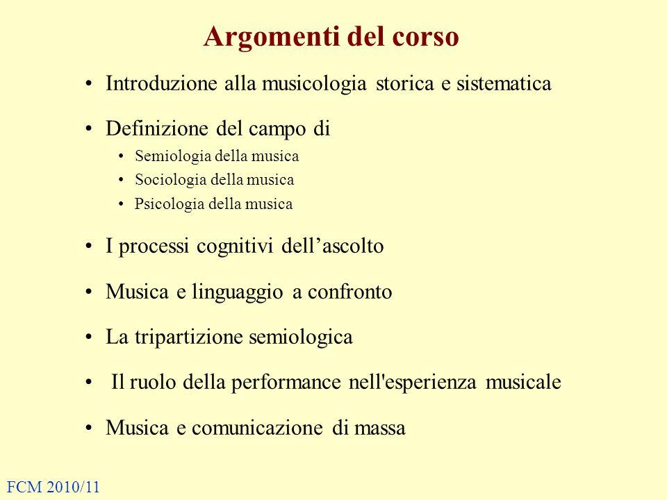 Argomenti del corso Introduzione alla musicologia storica e sistematica Definizione del campo di Semiologia della musica Sociologia della musica Psico