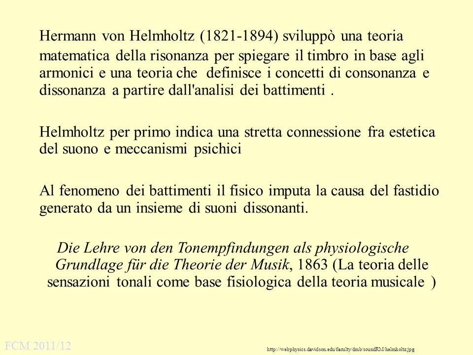http://webphysics.davidson.edu/faculty/dmb/soundRM/helmholtz.jpg Hermann von Helmholtz (1821-1894) sviluppò una teoria matematica della risonanza per