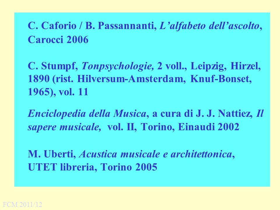C. Caforio / B. Passannanti, Lalfabeto dellascolto, Carocci 2006 C. Stumpf, Tonpsychologie, 2 voll., Leipzig, Hirzel, 1890 (rist. Hilversum Amsterdam,