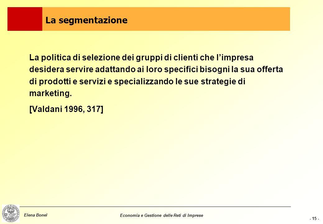 - 14 - Elena Bonel Economia e Gestione delle Reti di Imprese Non esistono in natura Sono il risultato dellelaborazione delle singole organizzazioni Tr