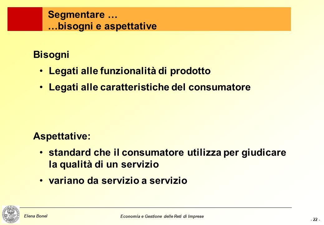 - 21 - Elena Bonel Economia e Gestione delle Reti di Imprese Come segmentare? Alcune variabili di base Geografiche (provenienza, nazionalità) Demograf