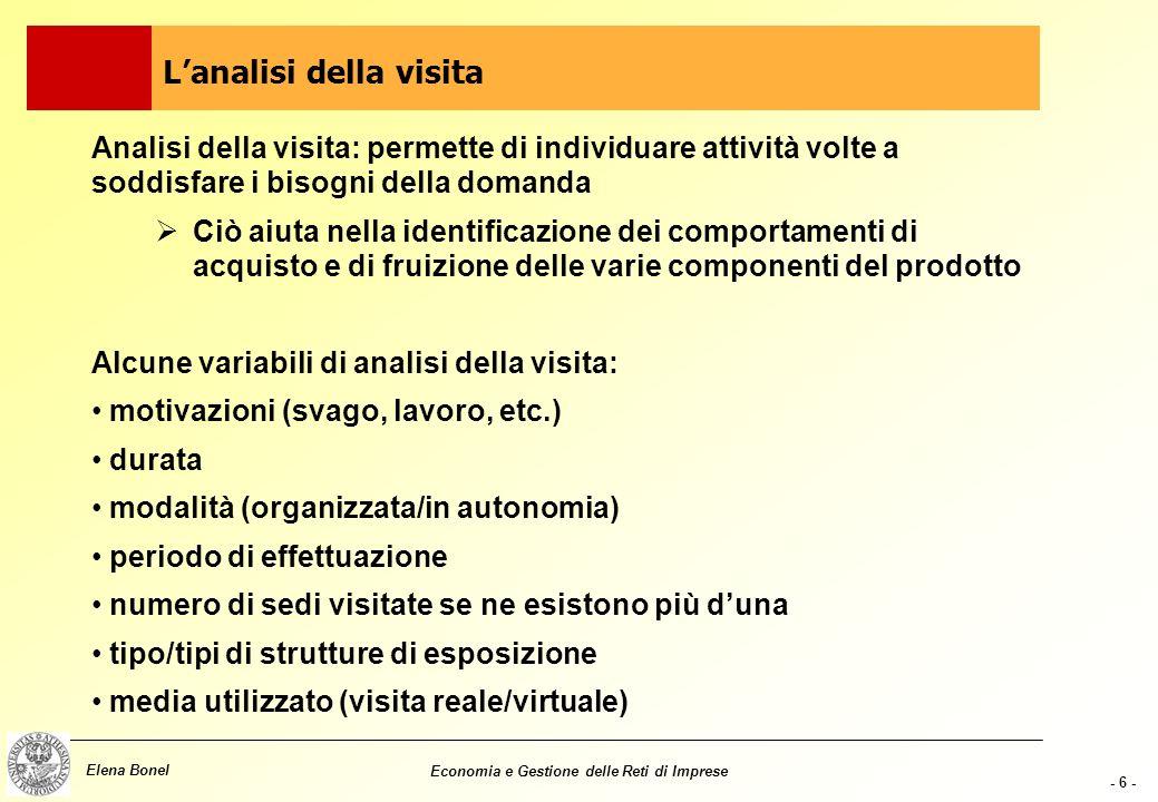 - 5 - Elena Bonel Economia e Gestione delle Reti di Imprese Analisi dei visitatori: una possibilità è comprendere come sono fatti analizzando come com
