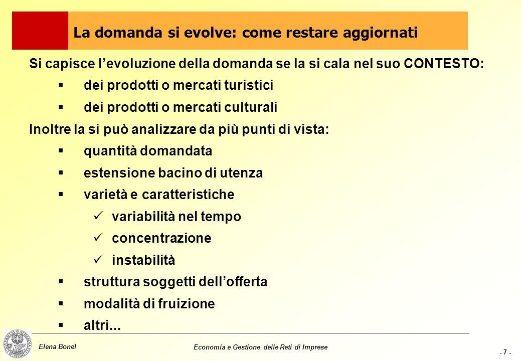 - 6 - Elena Bonel Economia e Gestione delle Reti di Imprese Analisi della visita: permette di individuare attività volte a soddisfare i bisogni della