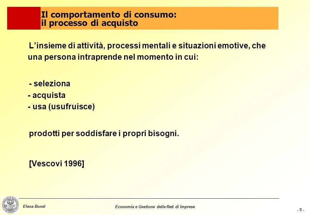 - 8 - Elena Bonel Economia e Gestione delle Reti di Imprese La variabilità nel tempo dipende in primis da due fattori: Concentrazione: diseguale distr
