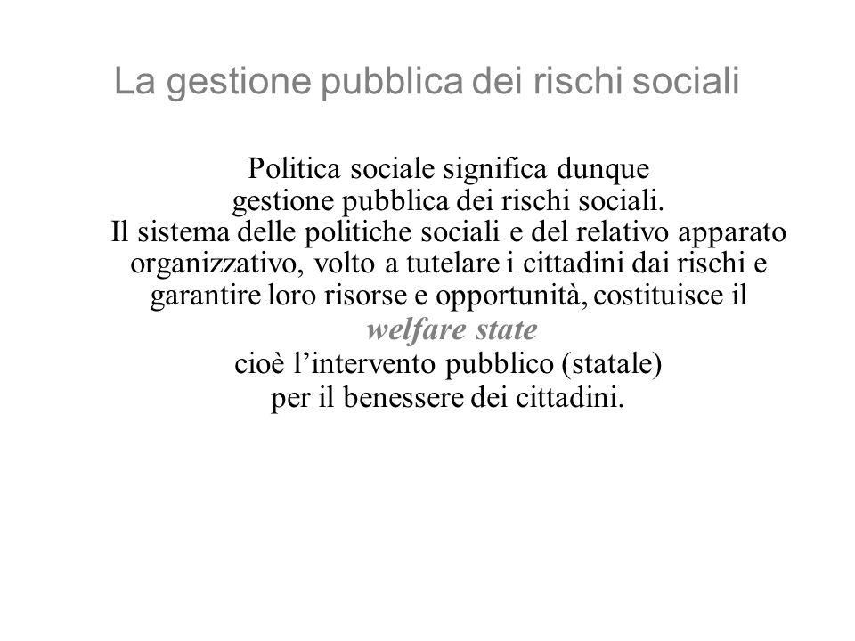 La gestione pubblica dei rischi sociali Politica sociale significa dunque gestione pubblica dei rischi sociali.