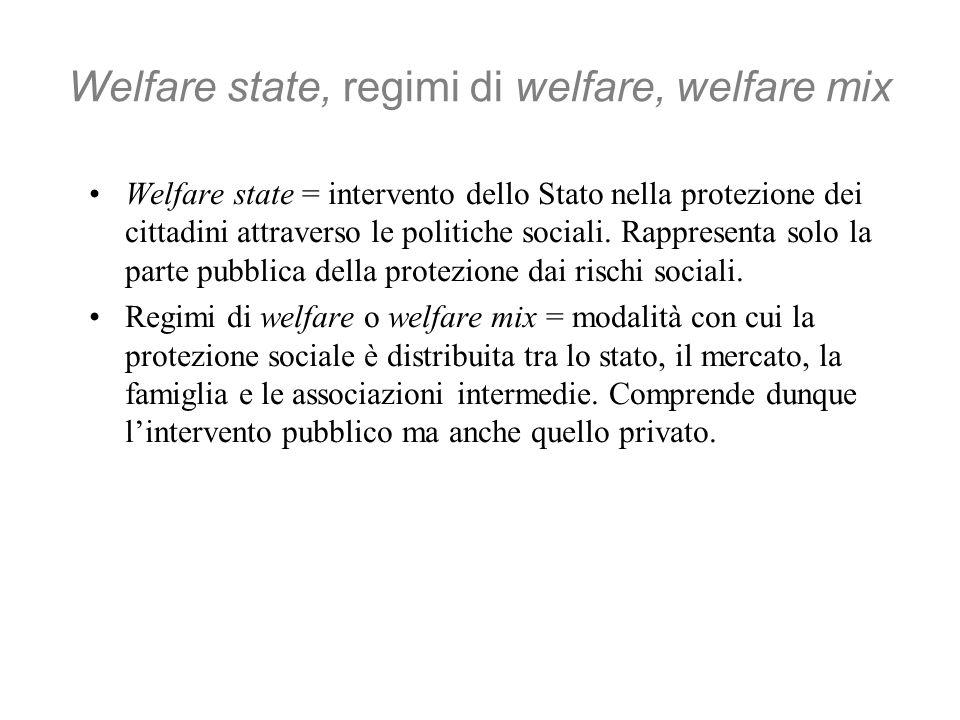 Welfare state, regimi di welfare, welfare mix Welfare state = intervento dello Stato nella protezione dei cittadini attraverso le politiche sociali.