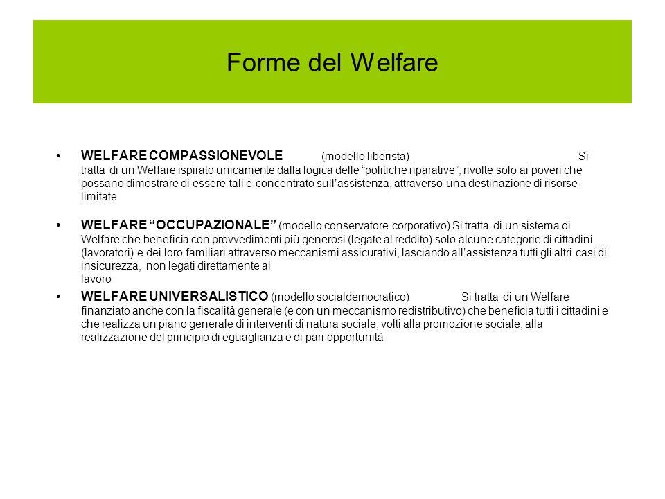 Forme del Welfare WELFARE COMPASSIONEVOLE (modello liberista) Si tratta di un Welfare ispirato unicamente dalla logica delle politiche riparative, rivolte solo ai poveri che possano dimostrare di essere tali e concentrato sullassistenza, attraverso una destinazione di risorse limitate WELFARE OCCUPAZIONALE (modello conservatore-corporativo) Si tratta di un sistema di Welfare che beneficia con provvedimenti più generosi (legate al reddito) solo alcune categorie di cittadini (lavoratori) e dei loro familiari attraverso meccanismi assicurativi, lasciando allassistenza tutti gli altri casi di insicurezza, non legati direttamente al lavoro WELFARE UNIVERSALISTICO (modello socialdemocratico) Si tratta di un Welfare finanziato anche con la fiscalità generale (e con un meccanismo redistributivo) che beneficia tutti i cittadini e che realizza un piano generale di interventi di natura sociale, volti alla promozione sociale, alla realizzazione del principio di eguaglianza e di pari opportunità