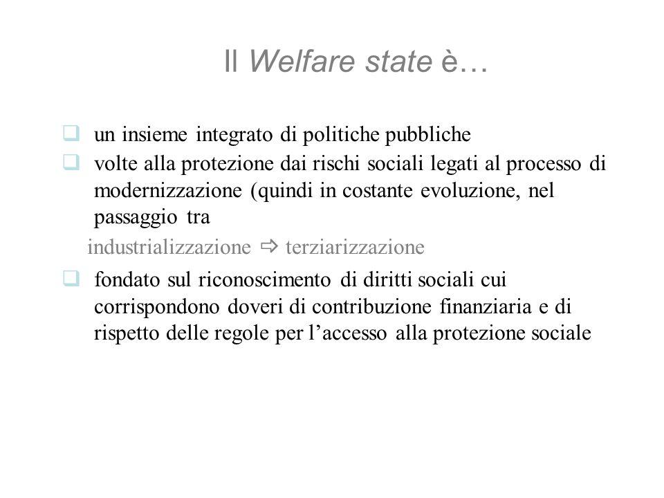 Il Welfare state è… un insieme integrato di politiche pubbliche volte alla protezione dai rischi sociali legati al processo di modernizzazione (quindi in costante evoluzione, nel passaggio tra industrializzazione terziarizzazione fondato sul riconoscimento di diritti sociali cui corrispondono doveri di contribuzione finanziaria e di rispetto delle regole per laccesso alla protezione sociale