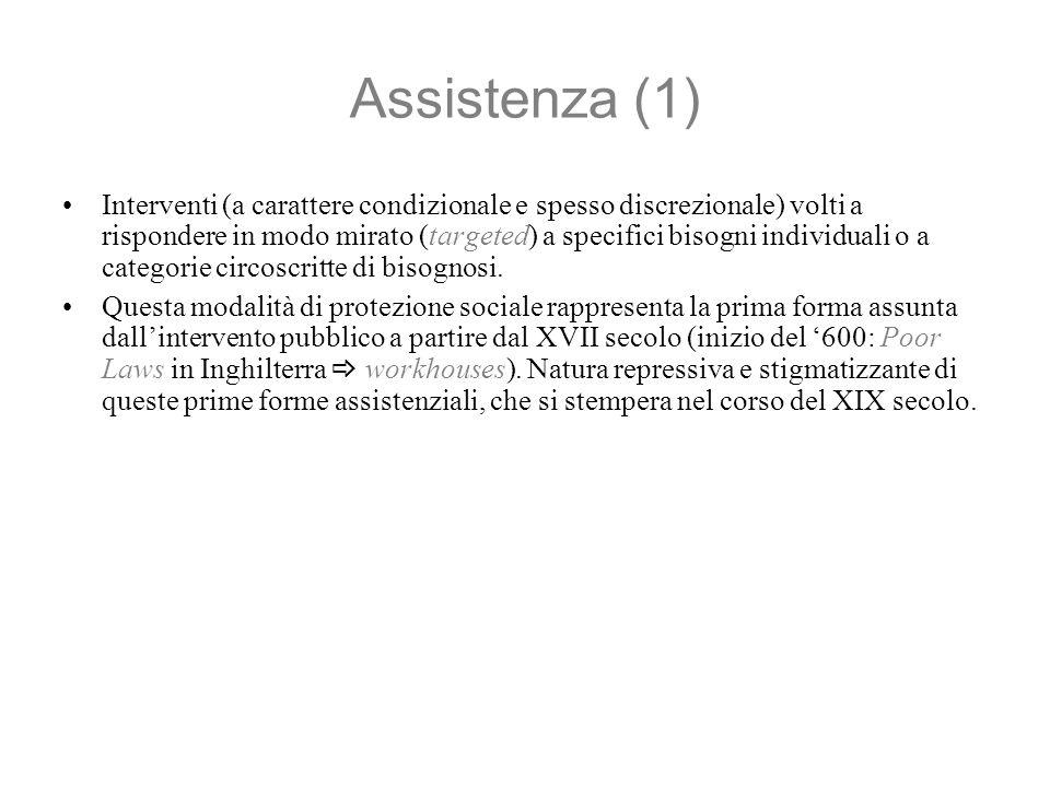 Assistenza (1) Interventi (a carattere condizionale e spesso discrezionale) volti a rispondere in modo mirato (targeted) a specifici bisogni individuali o a categorie circoscritte di bisognosi.