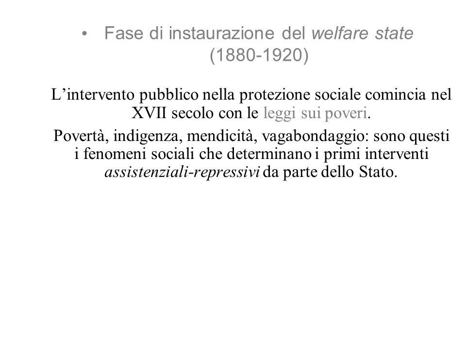Fase di instaurazione del welfare state (1880-1920) Lintervento pubblico nella protezione sociale comincia nel XVII secolo con le leggi sui poveri.