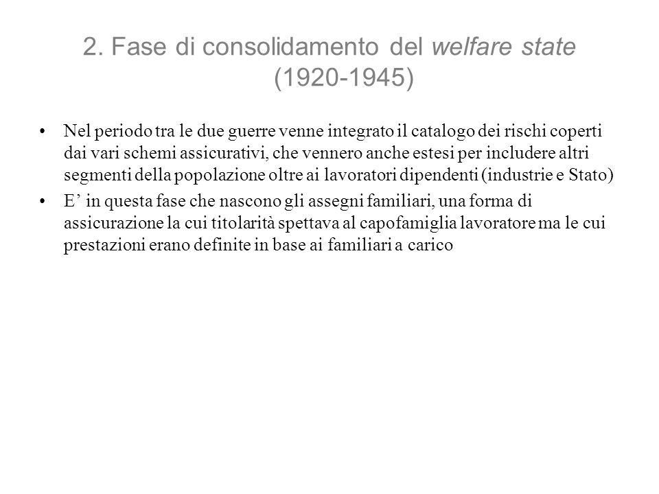 2. Fase di consolidamento del welfare state (1920-1945) Nel periodo tra le due guerre venne integrato il catalogo dei rischi coperti dai vari schemi a