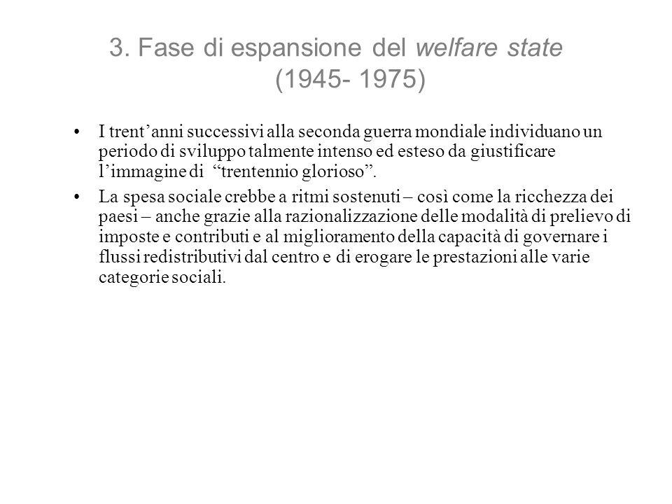 3. Fase di espansione del welfare state (1945- 1975) I trentanni successivi alla seconda guerra mondiale individuano un periodo di sviluppo talmente i