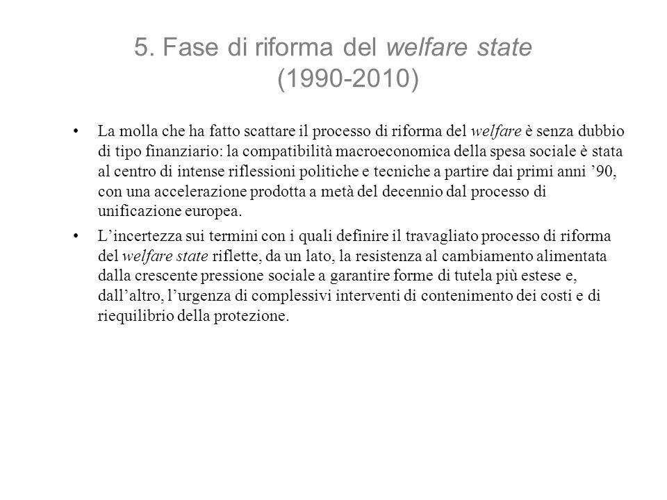 5. Fase di riforma del welfare state (1990-2010) La molla che ha fatto scattare il processo di riforma del welfare è senza dubbio di tipo finanziario: