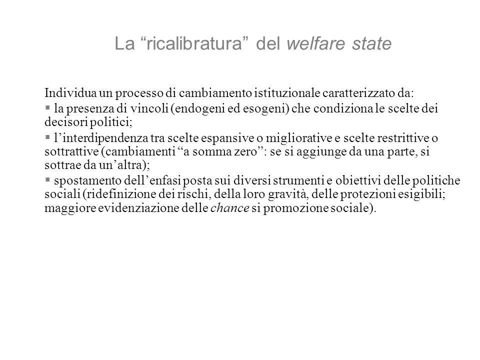 La ricalibratura del welfare state Individua un processo di cambiamento istituzionale caratterizzato da: la presenza di vincoli (endogeni ed esogeni) che condiziona le scelte dei decisori politici; linterdipendenza tra scelte espansive o migliorative e scelte restrittive o sottrattive (cambiamenti a somma zero: se si aggiunge da una parte, si sottrae da unaltra); spostamento dellenfasi posta sui diversi strumenti e obiettivi delle politiche sociali (ridefinizione dei rischi, della loro gravità, delle protezioni esigibili; maggiore evidenziazione delle chance si promozione sociale).