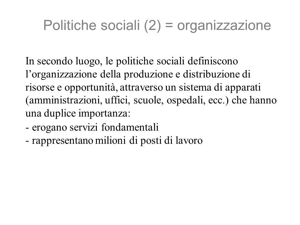 Politiche sociali (3) = attori La produzione e distribuzione di risorse e opportunità coinvolge una pluralità di attori, pubblici e privati.
