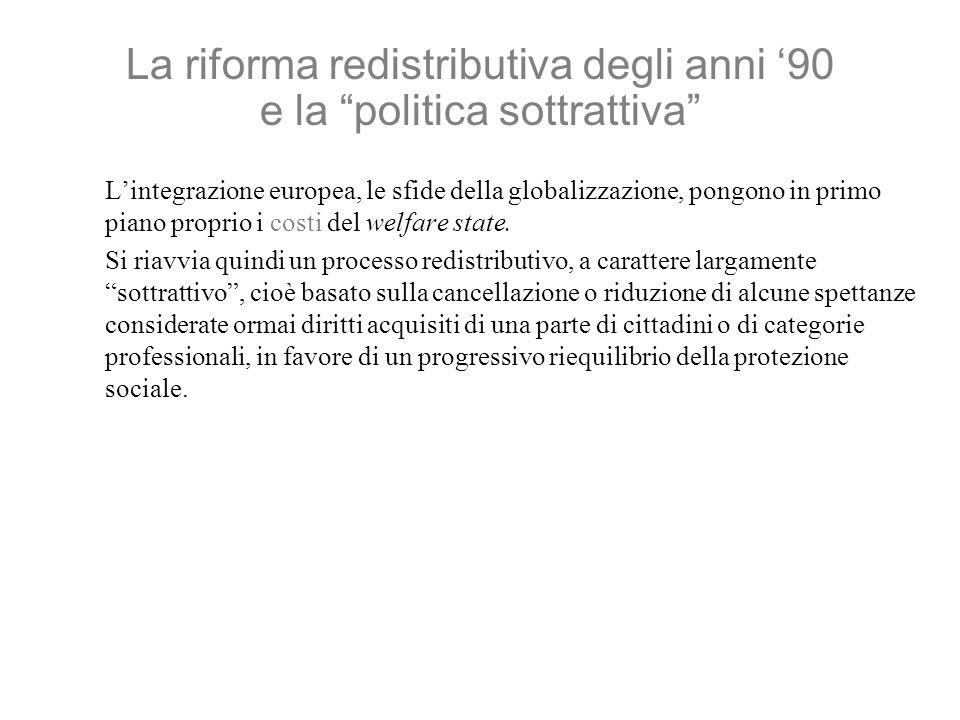 La riforma redistributiva degli anni 90 e la politica sottrattiva Lintegrazione europea, le sfide della globalizzazione, pongono in primo piano proprio i costi del welfare state.