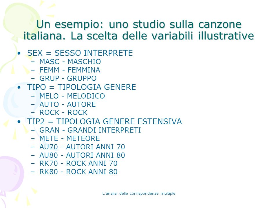 Lanalisi delle corrispondenze multiple Un esempio: uno studio sulla canzone italiana. La scelta delle variabili illustrative SEX = SESSO INTERPRETE –M