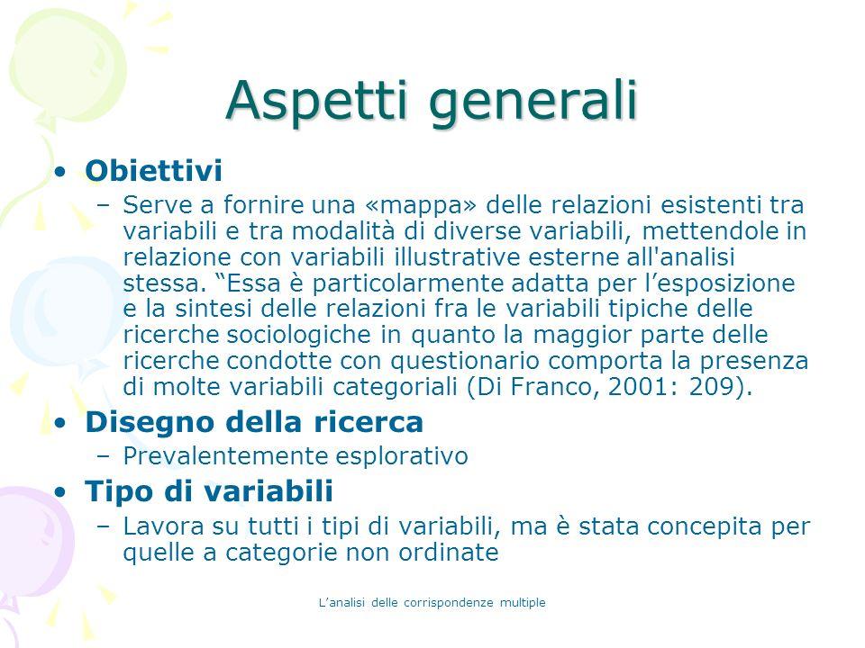 Lanalisi delle corrispondenze multiple Aspetti generali Obiettivi –Serve a fornire una «mappa» delle relazioni esistenti tra variabili e tra modalità
