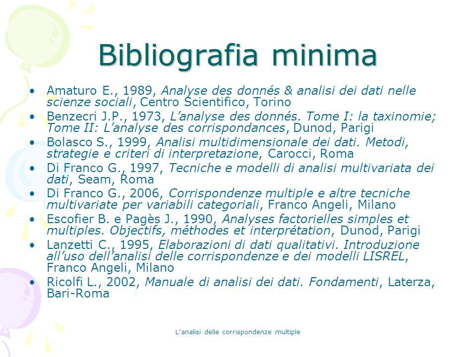 Lanalisi delle corrispondenze multiple Bibliografia minima Amaturo E., 1989, Analyse des donnés & analisi dei dati nelle scienze sociali, Centro Scien