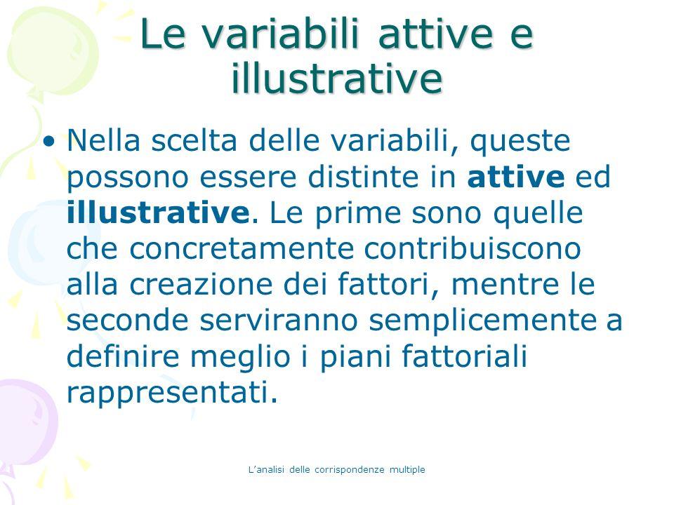 Lanalisi delle corrispondenze multiple Le variabili attive e illustrative Nella scelta delle variabili, queste possono essere distinte in attive ed il