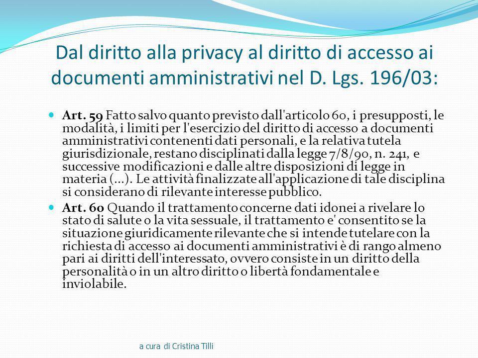 Dal diritto alla privacy al diritto di accesso ai documenti amministrativi nel D.