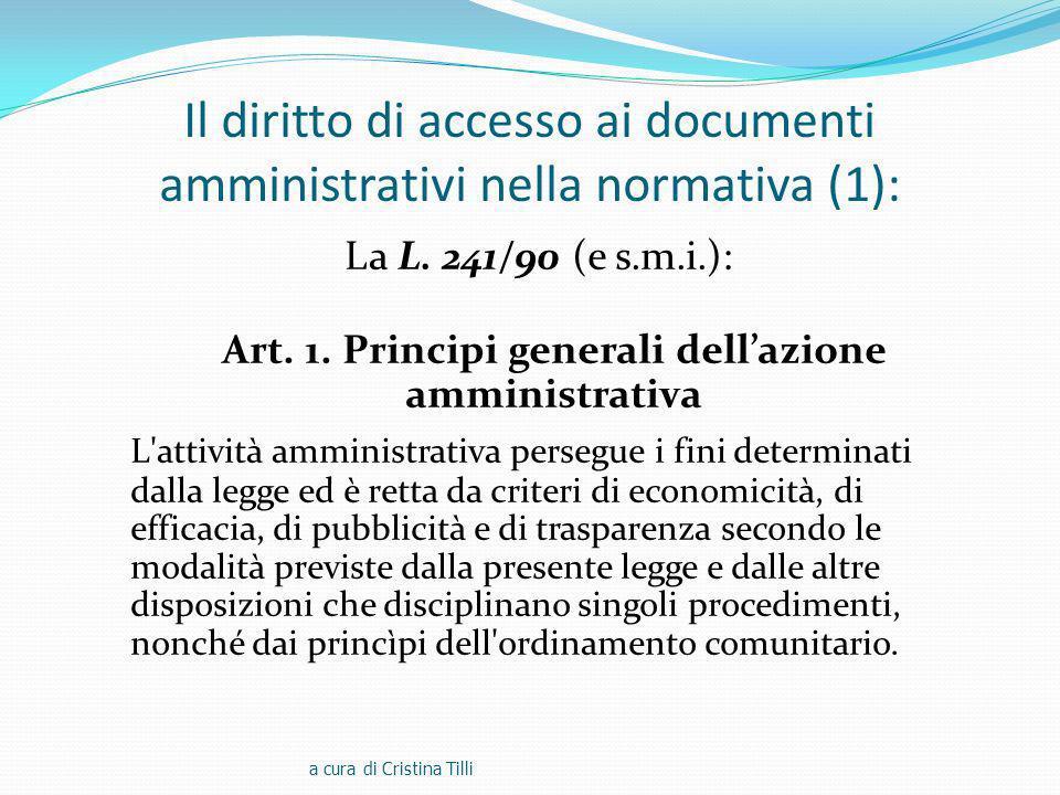 Il diritto di accesso ai documenti amministrativi nella normativa (1): La L.