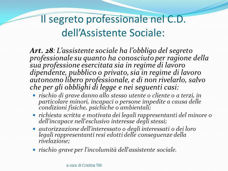 Il segreto professionale nel C.D.dellAssistente Sociale: Art.