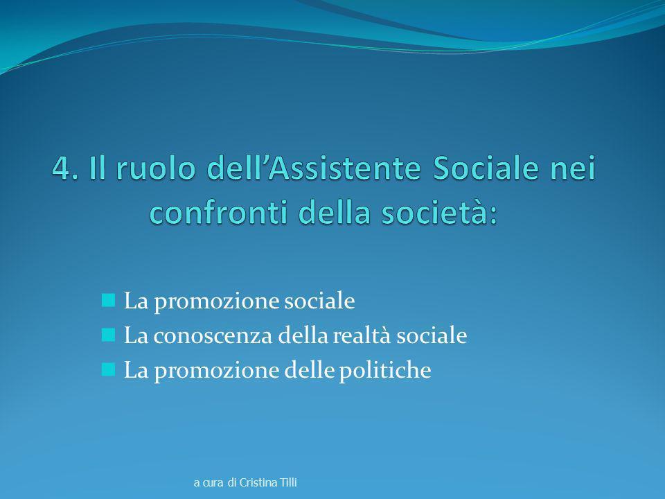 La promozione sociale La conoscenza della realtà sociale La promozione delle politiche a cura di Cristina Tilli