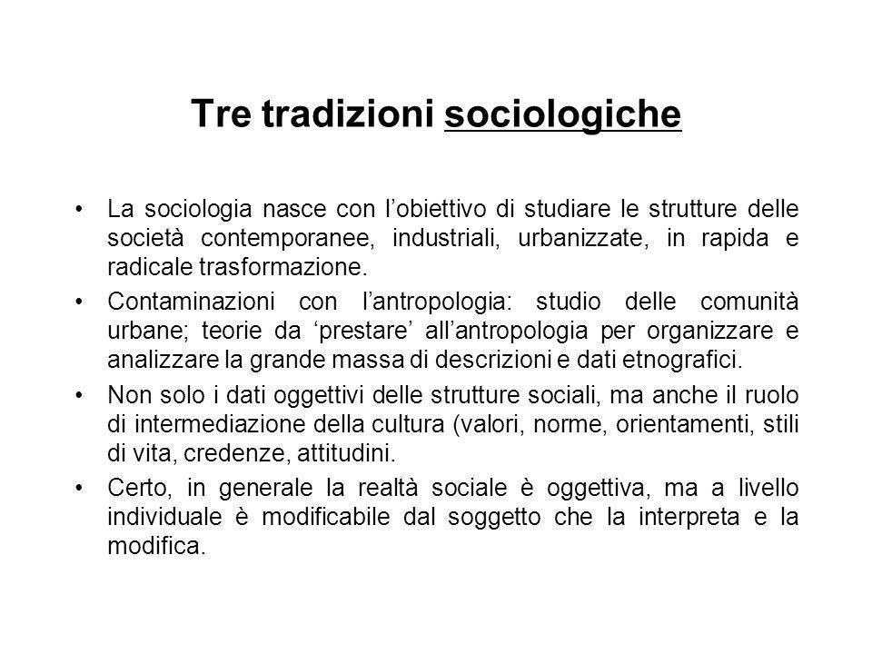 Tre tradizioni sociologiche La sociologia nasce con lobiettivo di studiare le strutture delle società contemporanee, industriali, urbanizzate, in rapi