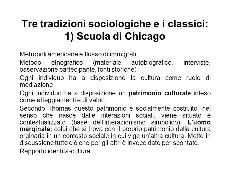 Tre tradizioni sociologiche e i classici: 1) Scuola di Chicago Metropoli americane e flusso di immigrati Metodo etnografico (materiale autobiografico,