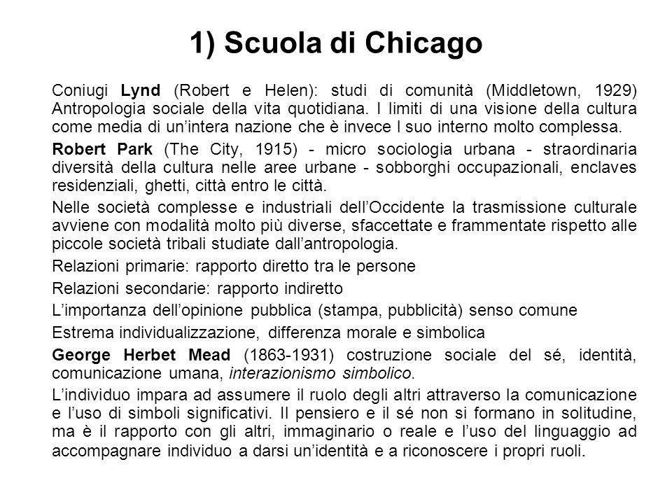 1) Scuola di Chicago Coniugi Lynd (Robert e Helen): studi di comunità (Middletown, 1929) Antropologia sociale della vita quotidiana. I limiti di una v