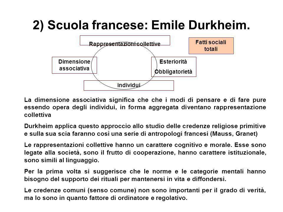2) Scuola francese: Emile Durkheim. La dimensione associativa significa che che i modi di pensare e di fare pure essendo opera degli individui, in for