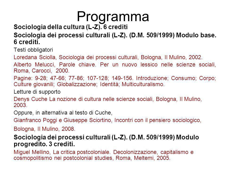 Programma Sociologia della cultura (L-Z). 6 crediti Sociologia dei processi culturali (L-Z). (D.M. 509/1999) Modulo base. 6 crediti. Testi obbligatori