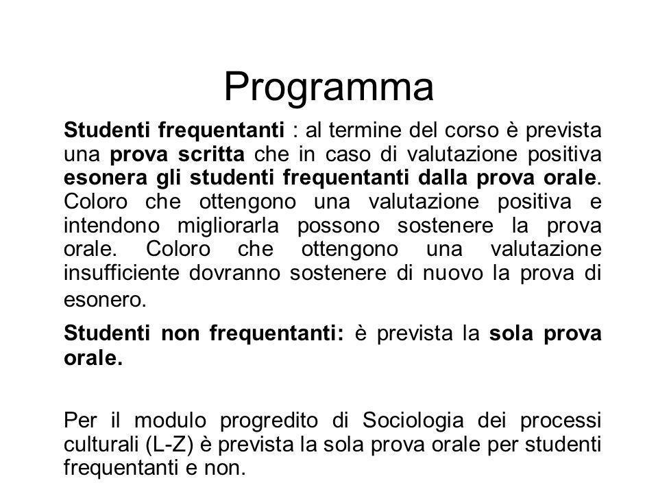Programma Studenti frequentanti : al termine del corso è prevista una prova scritta che in caso di valutazione positiva esonera gli studenti frequenta