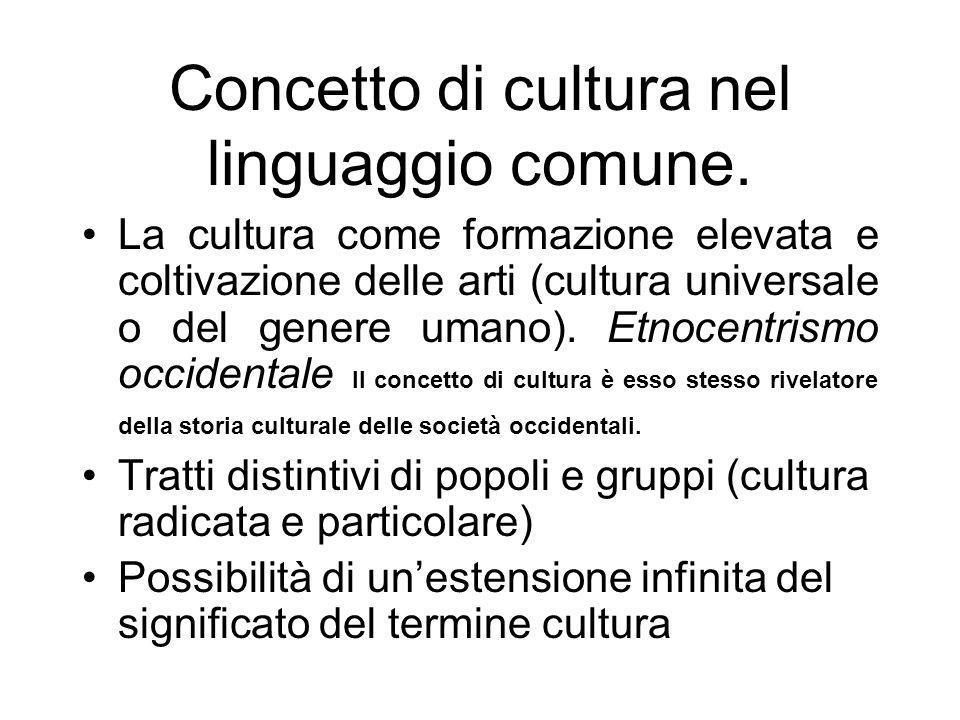 Concetto di cultura nel linguaggio comune. La cultura come formazione elevata e coltivazione delle arti (cultura universale o del genere umano). Etnoc