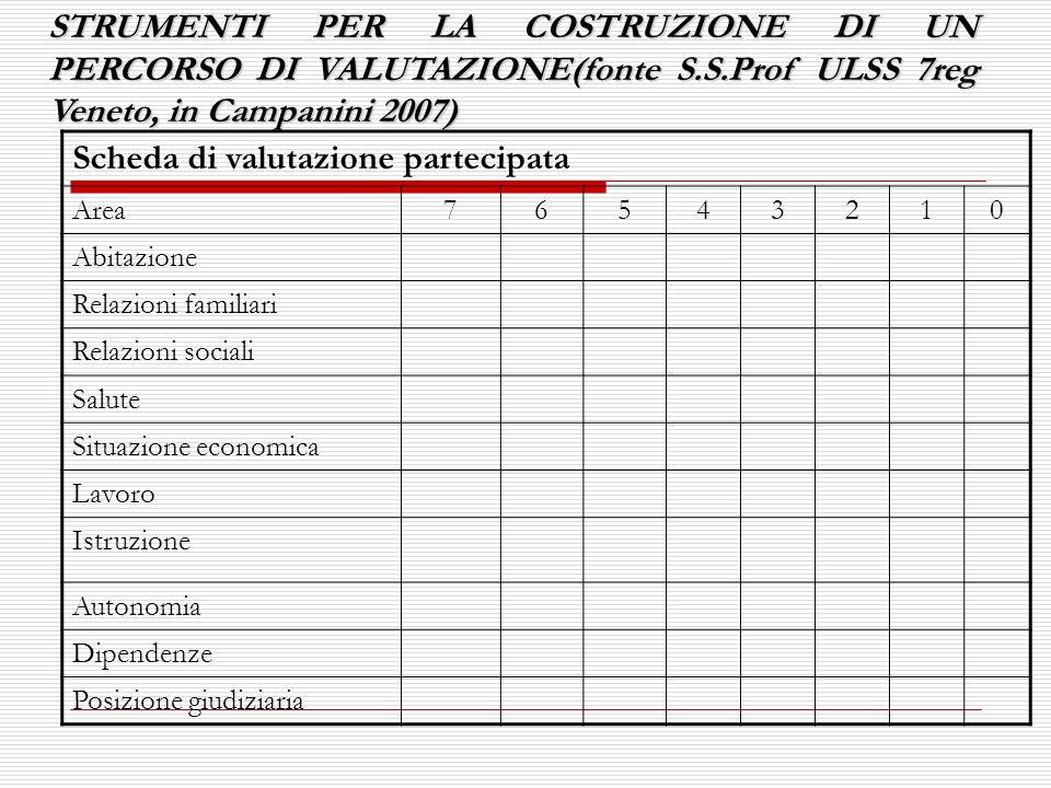 STRUMENTI PER LA COSTRUZIONE DI UN PERCORSO DI VALUTAZIONE(fonte S.S.Prof ULSS 7reg Veneto, in Campanini 2007) Scheda di valutazione partecipata Area7