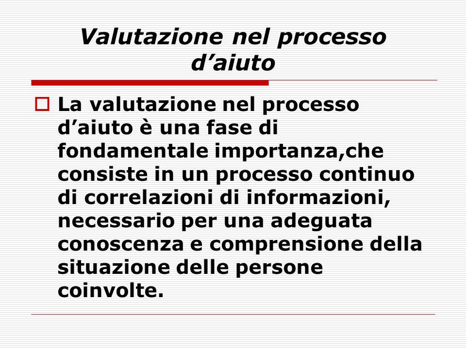 Valutazione nel processo daiuto La valutazione nel processo daiuto è una fase di fondamentale importanza,che consiste in un processo continuo di corre